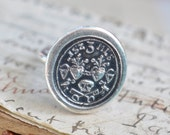 skull, two hearts, two skeleton keys wax seal ring - til death us do part - wedding ring, anniversary gift - antique wax seal jewelry