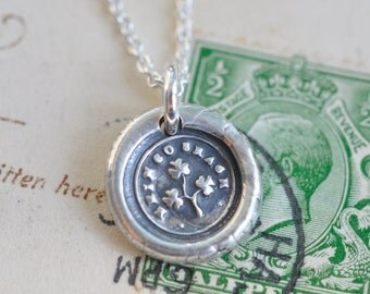 shamrock wax seal necklace ... erin go bragh - fine silver Victorian trinket wax seal jewelry