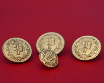 Brass Police Department Buttons - Collection of 4 - P Monogram - Uniform Buttons With Laurel Wreath