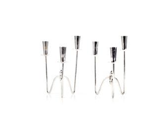 Vintage Silver Candelabra - 60s Candelabra - Danish Modern Candelabra - Denmark - Silver Plate - Silver Candle Holder - Silver Candlesticks