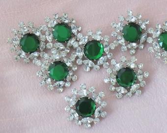 Rhinestone Button Crystal and Emerald Green