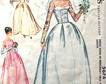 Wedding Dress with Gorgeous Scalloped Hemline Bust 34 McCalls 5674