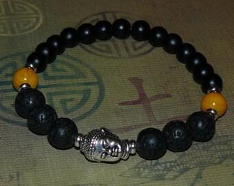 Buddha Matte Black Onyx/ Lava Rock/ Yellow Jade Unisex Bracelet