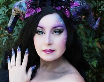 Galaxy Horns, Light Up Horns, Horn Headdress, Night Sky, Dark Dragon, Costume, Cosplay, Halloween, Goth, Fantasy, Dark Fairy