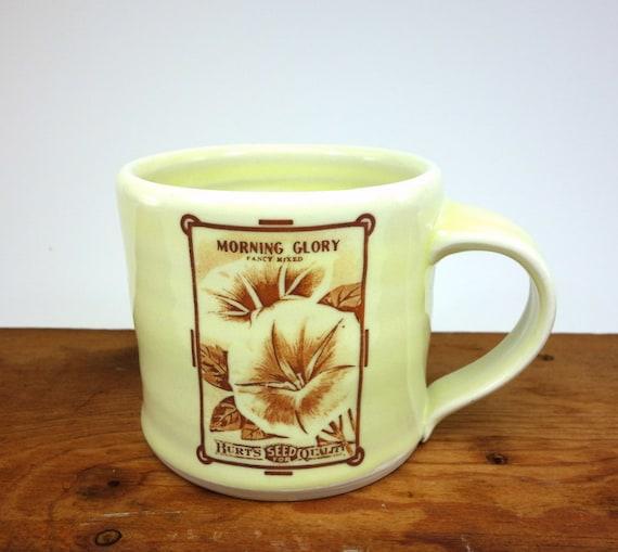 "Morning Glory Mug - Creamy yellow glaze - ""Vintage Seed Packet"" series"