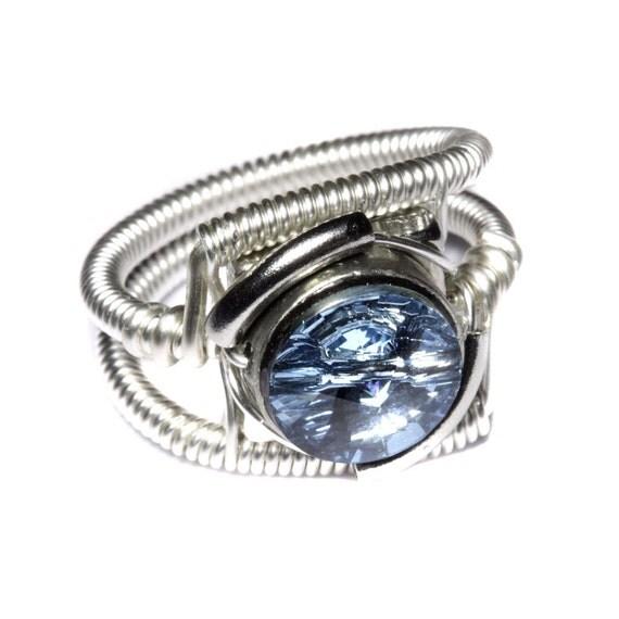 Cyberpunk Jewelry - RING - Aquamarine Swarovski Crystal