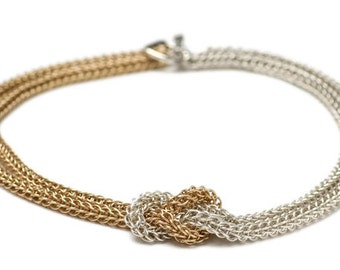 Persian Knot Sterling Silver and Gold-Filled Chainmail Necklace. Intricate Chain Maille Pendant
