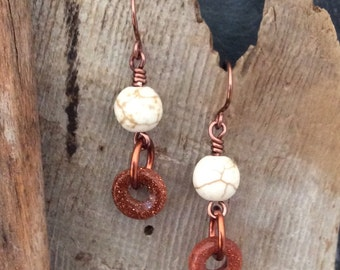 SALE Howlite and Goldstone Dangle Earrings Antique Copper Hammered Handmade Earwires     1.99 Shipping USA