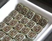 NEW Paris Gardens - Czech Glass Beads, Opaque Old Mint, Brown Picasso, Ornamental Rectangles 12x11mm - Pc 6