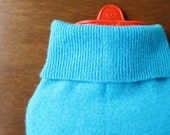 Pure Cashmere Hot Water Bottle Cover. Gift for Her. Turquoise Blue Cashmere Hottie Cover. Gift Idea for Mom, Sister, Friend