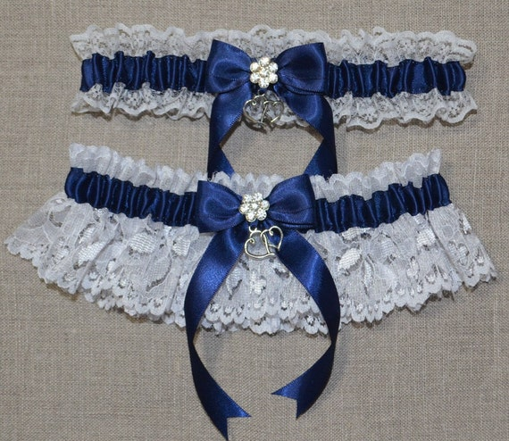 Navy Blue And White Wedding Garter Set Lace Rhinestone