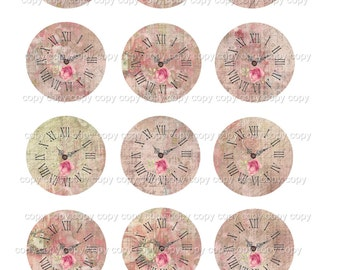 INSTANT DOWNLOAD - 2 Inch Circles  - Clock Faces -  Printable Digital Collage Sheet - Digital Download