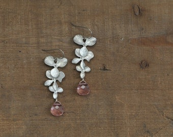 Silver Orchid and Light Pink Swarovski Earrings