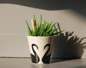 Black swan couple plant pot mug planter