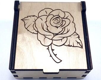 Rose Jewelry Box, Wood Trinket Box, Flower Jewelry Case, Laser Cut Box, Flower Jewelry Storage Box, Rose Wood Box, Jewelry Organizer