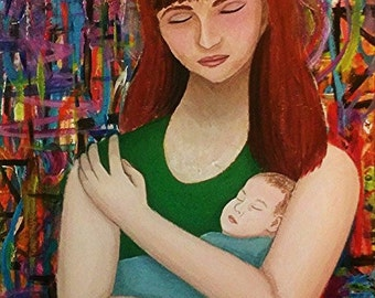 "Mother and Child Abstract Acrylic Painting Large 24"" x 36"" on Canvas Woman Holding Baby in her Arms. Brightly Colored Ready to Hang Original"