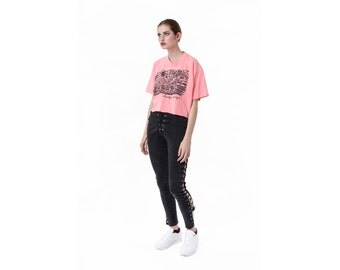 CROPPED tshirt T shirt Crop top NEON vintage 90s Saratoga Springs vintage women pink Medium / Large better Stay together