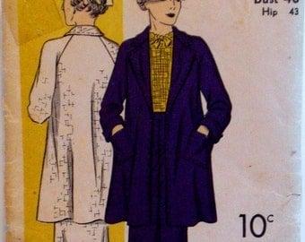 Vintage 1930s Swagger Coat & Skirt Pattern DuBarry 1434B Bust 40 Factory Folded Greta Garbo Style