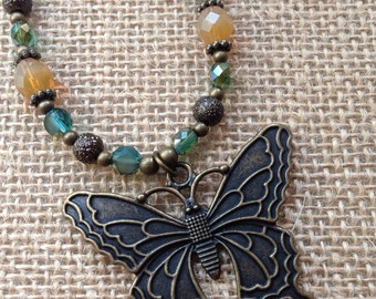 Brass Butterfly Necklace with Glass Beads