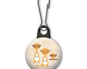 Meerkat zipper pull.   Meerkat charm.  Meerkat family zipper charm.  Backpack zipper pull.  Custom zipper pulls available.