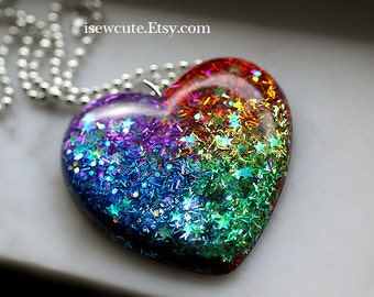 Statement Necklace - Somewhere Over the Rainbow You'll Find a Glitter Heart... handmade resin jewelry by isewcute