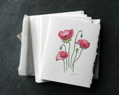 Set of 6 POPPY POSY Cards and Envelopes, Blank Interior, Post-consumer Recycled Paper, Floral, Flowers