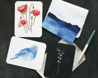 Postcard and Envelope Set, Watercolours, Recycled Paper, Lily, Poppy, Bird, Waterscape
