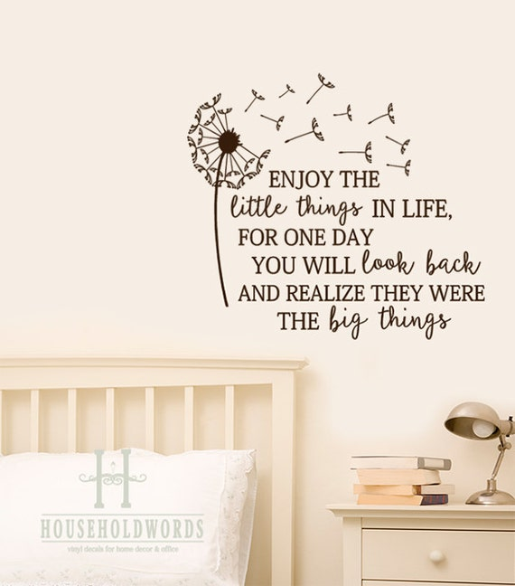 Inspirational Wall Decals Dandelion Enjoy The Little Things