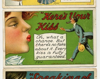 Three Antique Postcards - All About A Kiss - 1910 - F. Bluh