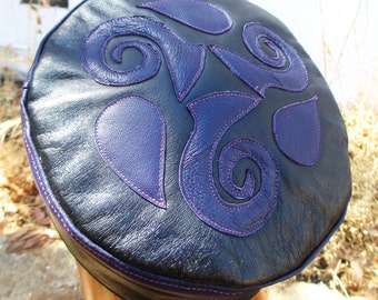 Leather Celtic Kufi Hat in Black/ Dark Blue