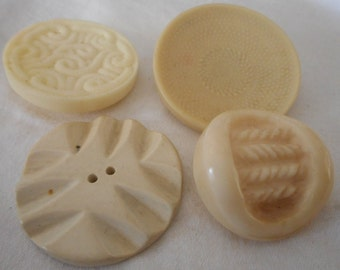 Lot of 4 VINTAGE Large Texture Cream White Plastic BUTTONS