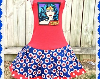 Wonder Woman dress Marvel 2t 3t 4t 5t 4/5 6/6X 7/8 10/12 14/16 ready to ship