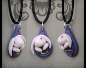 Petunia The White Rabbit & Glass Gem Sculpted Pendant, Polymer Clay Animal Jewelry Anthro Fairy Tale Necklace Nouveau Victorian Nature Drop