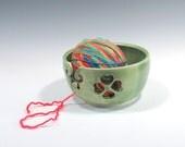 Yarn Bowl - Green Yarn Bowl with Hearts Shamrock - Knitting Bowl - Yarn Holder - Bowl for Holding Yarn - Handmade Pottery