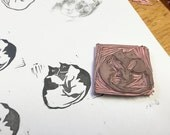 Hand Carved Stamp // Snuggling Cats // Cat Stamp