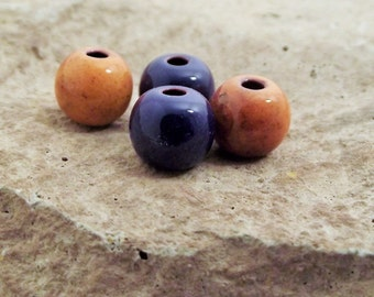 Syracuse University colors beads Torch fired handmade enameled beads Handmade enameled Beads For jewelry making Blue enamel