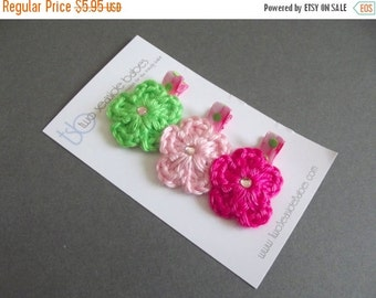20% OFF Pink and Green Hair Clips Crochet Flower Hair Clip Lime Green Hair Clip Light Pink Hair Clip Hot Pink Hair Clip Polka Dot Hair Clips