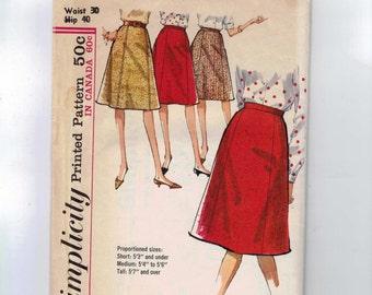 1960s Vintage Sewing Pattern Simplicity 5624 Misses A Line Knee Length Skirt Plus Size Waist 30 Hip 40 60s 1964