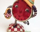 Mindy Melon's Picnic – Hand sculpted, OOAK, original paper mâché, watermelon, girl, picnic red white check, daisy, by artist Alycia Matthews