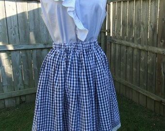 Full Hand Made Gingham and Eyelet Skirt