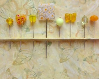 Assortment of Yellow Straight Pins - Set of 8 Assorted Mixed Sizes and Styles