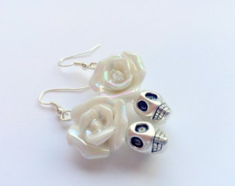 Silver and White Day of the Dead Roses and Sugar Skull Earrings