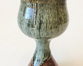 "Wine Goblet - Communion Chalice Water Cup - Wine Glass - Kent Harris Pottery - Handmade Stoneware Goblet - 7.25"" x 3 3/8"" - WF-G-52"
