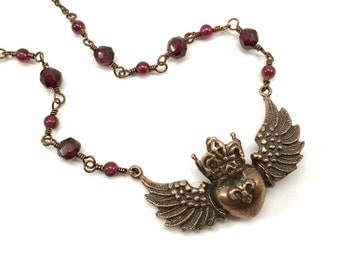 Garnet necklace, regal flying heart