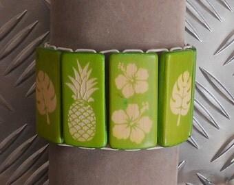 Tropical carved bamboo bracelet