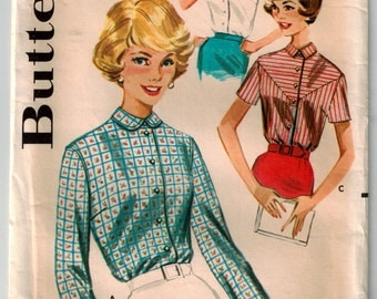 Vintage 60's Misses' Tailored Blouse Sewing Pattern Bust 34 Rounded Collar Long Cuffed Sleeves or Sleeveless/Short Sleeve Pointed Collar