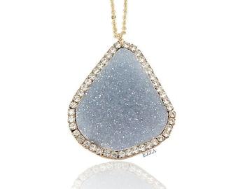 Druzy Necklace | Celestite Light Blue Druzy Statement Pendant Necklace | Turquoise Blue Necklace | Turquoise Geode Necklace, Miranda Lambert