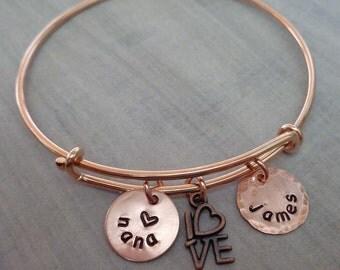 Love Nana Bangle Bracelet - Rose Gold Mom Nana Mommy Grandma Bangle - Personalized Love Names Initials - Rose Gold Mom Nana Bangle -B-37