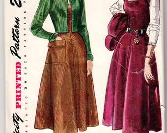 """Vintage Sewing Pattern 1940's Ladies' Jumper and Bolero Jacket Simplicity 2945 Size 34"""" Bust - Free Pattern Grading E-book Included"""