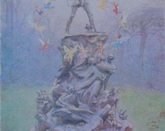 Peter Pan Fairies Kensington Gardens Margaret Tarrant Children's Illustration on Canvas Ready to Hang